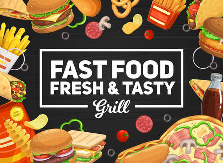 Fast food vector burger and hot dog, pizza and sandwich, soda drinks. French fries and roll, tornado potato and tacos takeaway fastfood. Junk food cheeseburger and hamburger combo menu 矢量图像