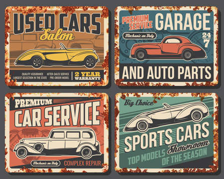 Rare cars and vehicles rusty metal plates. Vintage coupe cabriolet, retro roadster and antique limousine. Used and sport car dealer showroom, old vehicles repair and restoration service vector banner