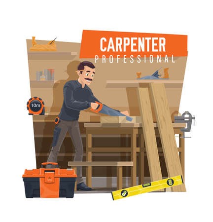 Carpenter cutting wooden board on workbench. Professional carpenter using hand saw, joiner crafting furniture in workshop, measure tape and toolbox, bubble level, carpentry vice and jack plane vector