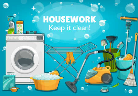Housework untesils and laundry tools. Vector house cleaning supplies washing machine, broom or toilet plunger. Wash detergent package, floor mop, vacuum cleaner, gloves or brush, druyer cartoon poster Illustration