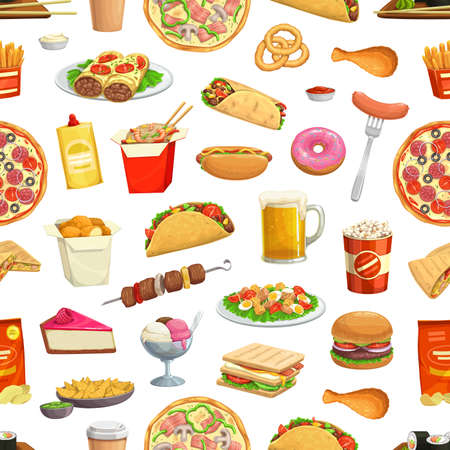 Fast food pattern, seamless background, vector hamburgers, pizza and burger sandwiches. Fastfood, menu hot dog, fries, drinks and snacks, ice cream, donut, burrito and noodles pattern background
