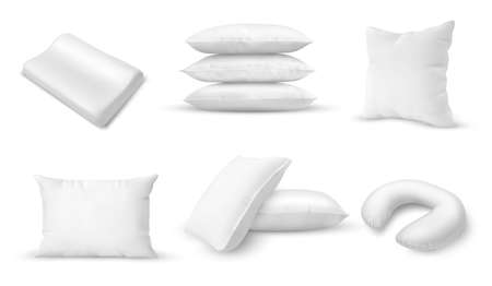 White pillows of different shapes. Blank square and rectangular form pillows, orthopedic and neck cushions for bedroom and travel. Realistic 3d vector mockup, home textile accessories for sleeping set