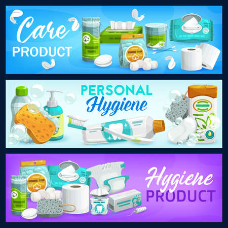 Hygiene, care products. Vector soap, toilet paper and shampoo, brush, toothpaste and cleansing wipes, liquid lather bottle, shower gel. Body and health care cosmetics, personal hygiene, daily care