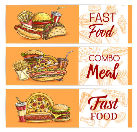 Fast food drinks and meals vector banners. Takeaway fastfood sketch pizza, hot dog and mexican tacos, cheeseburger, french fries with iced soda. Engraved snacks, bakery and beverages in plastic cups 矢量图像