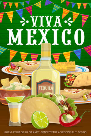Viva Mexico vector poster with traditional mexican food enchiladas, tacos and burrito with nachos and guacamole, tequila, lime, chili and corn. Cartoon Mexican meals, viva la fiesta party celebration