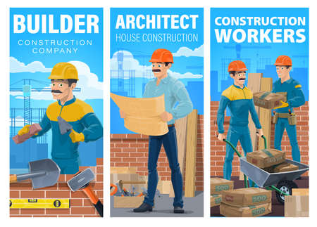 House construction builder and architect banner. Mason laying brick wall with trowel, architect or engineer reading blueprint on construction site, workers carrying cement bags with wheelbarrow vector