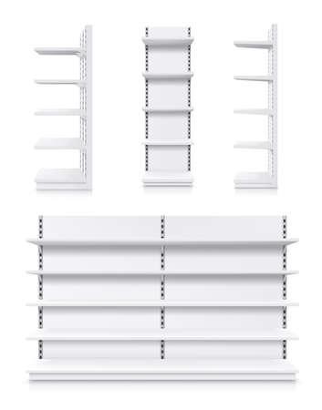Supermarket racks, vector white shop product shelves. Empty store showcase display, metal retail bookcase racks. Shopping merchandise market shelving front and side view, realistic 3d isolated mockup Vektorgrafik