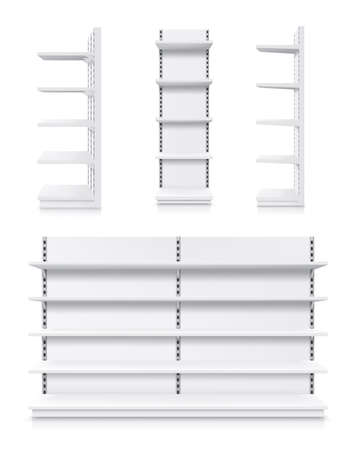 Supermarket racks, vector white shop product shelves. Empty store showcase display, metal retail bookcase racks. Shopping merchandise market shelving front and side view, realistic 3d isolated mockup Vektorové ilustrace