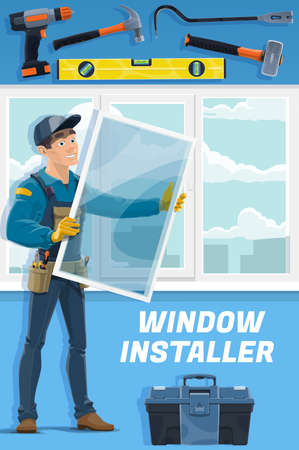 Windows installer service worker. Handyman in overalls and cap holding glass, installing window or mosquito net, toolbox, bubble level, and hammer, power screwdriver, sledgehammer and crowbar vector Stock Illustratie