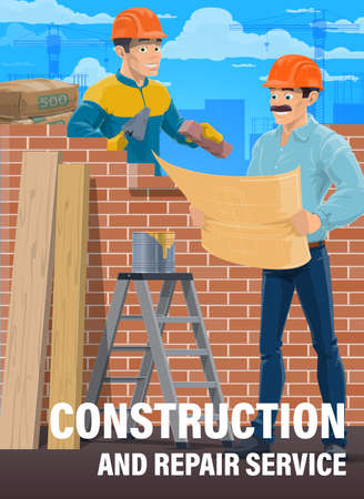 House construction professional workers. Mason or bricklayer in uniform and safety helmet laying brick wall with trowel, house architect, construction engineer or contractor reading blueprint vector Çizim