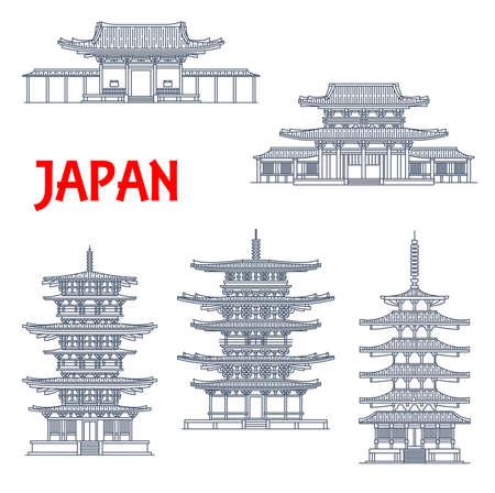 Japan landmarks icons, temples and Japanese pagodas, in Ikaruga Nara, Japan, vector. Japanese Buddhist architecture buildings Horyu-ji, Toto and Eastern pagoda, Nandaimon and Horyuji Tumon temple