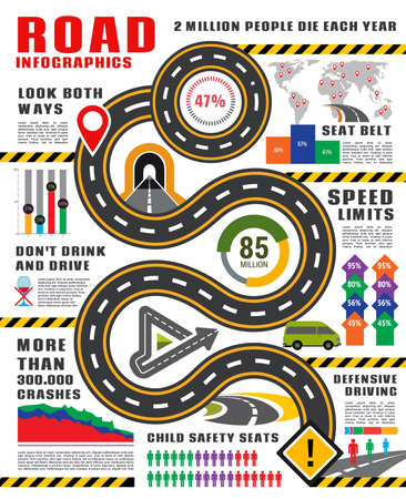 Transport infographics vector template. Road and traffic safety infographic, highway with signs and map pointers, graph and chart of crash, accident statistics with icons of cars, freeway and roadway 矢量图片