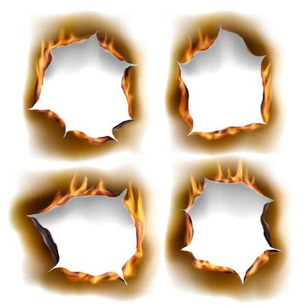 Burning holes, vector burn paper fire with realistic charred edges isolated objects. 3d flame on sheet. Burned round holes in fire flames, torn borders and ripped frames on white background