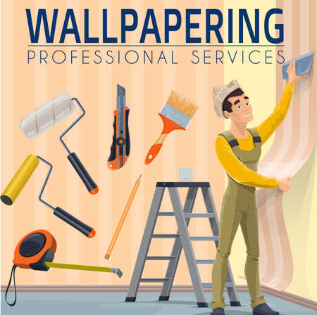 House renovation professional wallpapering service. Workman in overalls and paper hat, aligning wallpaper with smoother, measuring tape, roller bush and utility knife, pencil and stepladder vector Vector Illustratie