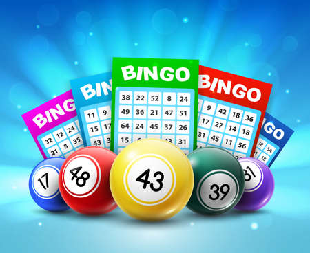 Lottery balls and tickets, 3d vector bingo lotto cards with numbers, keno gambling games. Colorful realistic balls and betting slips with lucky numbers, gaming industry and casino advertising design