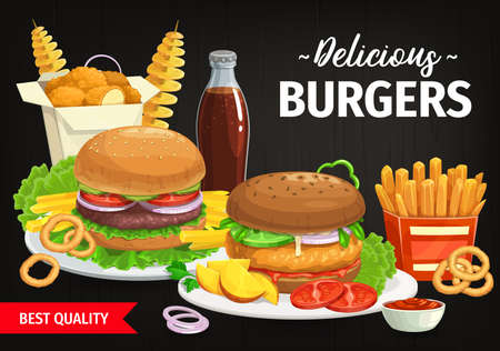 Burgers and combo snacks vector fast food hamburgers with lettuce and vegetables, french fries, nuggets and tornado spiral potato. Cola, ketchup sauce and onion rings. Street food meals cartoon poster 矢量图像