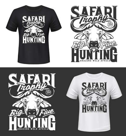 Tshirt print with buffalo head vector mockup, hunting club mascot, african savanna animal safari trophy. Wild ox, carabao or bison bull with fused horns apparel design, isolated t shirt print or label