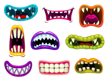 Monster mouths with sharp teeth and tongues. Cartoon vector funny os of aliens smiling, laughing roar and demonstrate fangs. Saliva jaws of monsters, beast gobs isolated on white background icons set