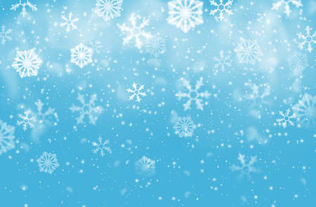 Christmas snow flakes vector background of falling white snowflakes, Xmas and New Year winter holidays design. Snowfall of ice crystals and star shaped snow flakes, snowy weather, snowstorm, blizzard 向量圖像