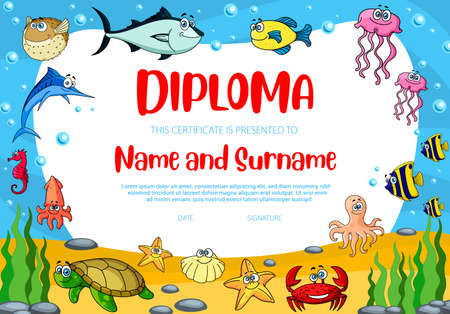 Kids education diploma vector template with puffer fish, crab and turtle. School or kindergarten certificate Child award border design for participation, achievement or graduation with sea animals