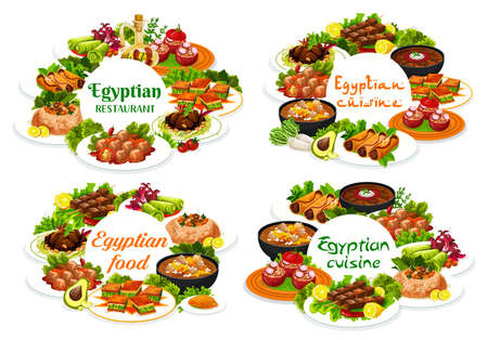 Egyptian cuisine restaurant vector round banners. Egyptian dishes with stuffed vegetables and rice, lamb and fish meat, sweet pastry dessert and soup with legumes, meatball, couscous and baklava