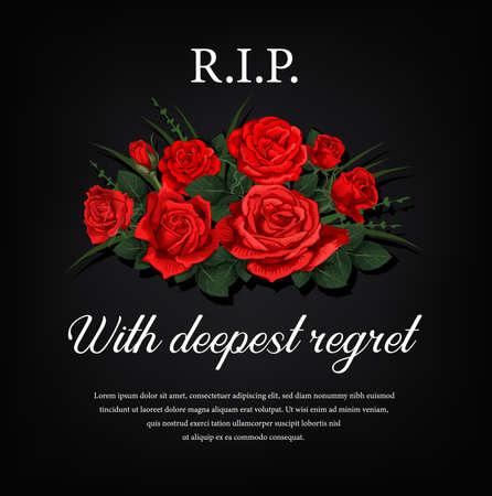 Funeral card with red roses flowers and condolence. Funerary poster, memorial engraving for black gravestone plaque with flowers and typography. Sepulchral plate, obituary condolence banner