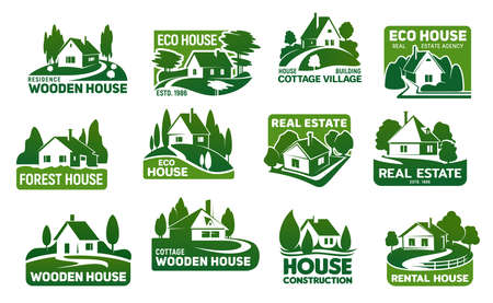 Wooden eco houses, real estate buildings vector icons. Cottage symbols with green trees and lawn, garden, path or driveway and fence. Eco design, landscaping service and real estate company emblems Ilustración de vector