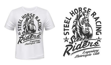 Horse stallion head t-shirt vector print. Courser or trotter, horse with waving mare illustration and typography. Motorcycle racing, motorbike riders club apparel print design mockup with mascot