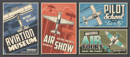 Aviation museum, flight school and air tour retro banners. Airplanes history exhibition, air show and pilot academy, airline travel posters. Antique biplane and monoplane flying in sky sketch vector Vektorové ilustrace