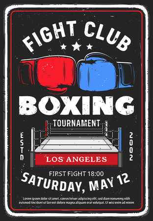 Fighting club event retro poster. Boxing tournament, martial arts fighters competition vintage promotion flyer or invitation leaflet design template. Boxing ring and fighters gloves vector 矢量图像
