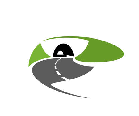 Asphalt road or freeway with tunnel icon. Speed highway, motorway or mountain path going in tunnel in hill or mountain vector. Tourism trip emblem, transportation and logistics industry design element Vector Illustration