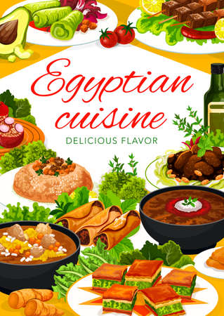 Egyptian food dishes vector banner. Lentil soup and baklava, lamb with prunes, trotter soup and couscous, stuffed with rice tomatoes, cabbage and rolls, kebabs with saffron. Egyptian restaurant menu