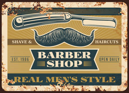 Barber shop rusty metal vector plate. Handlebar mustaches with curved extremities, straight or cutthroat razor and typography. Barbershop, men hairdresser salon retro banner or grungy sigh Vetores