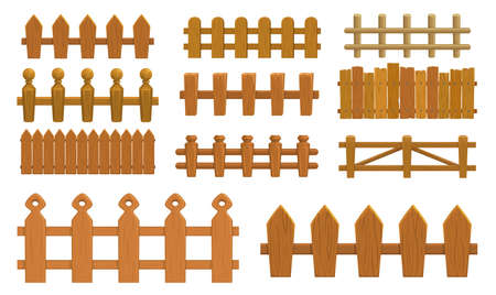 Cartoon fence, wooden palisade vector farm gates or balustrade with pickets. Enclosure railing, banister or fencing sections with decorative pillars. Wood garden border balusters isolated elements set
