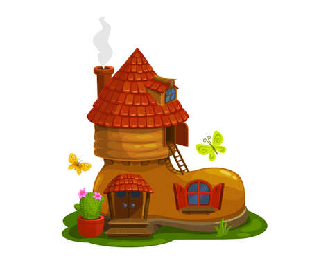 Gnome, dwarf or pixie fairytale house in shape of boot cartoon vector. Magical creature home in shoe with smoking chimney on tiled roof, cactus in flowerpot, wooden porch and flying butterflies Иллюстрация