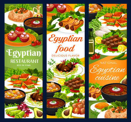 Egyptian cuisine restaurant meals vector banners. Sardine patties, stuffed tomatoes, cabbage and rolls, shish kebabs with saffron, lentil and trotter soups, baklava, lamb with prunes and couscous