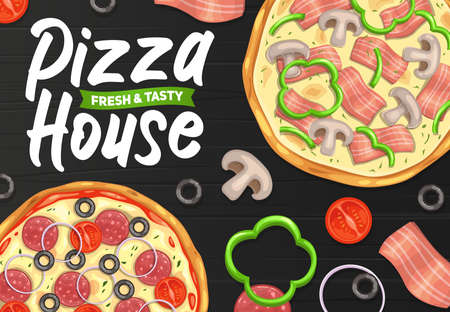 Pizza and pizzeria, Italian restaurant or fast food menu, vector poster. Fastfood pizza house delivery and food court Italian pizzaiolo gourmet menu for margherita, carbonara capricciosa or napoletana Vettoriali