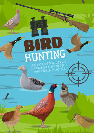Water and upland birds hunting poster. Vector pheasant and grouse, flying wild duck or mallard, floating on river goose, woodcock and partridge chukar, hunter binoculars and rifle with optical sight Ilustração