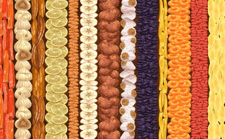 Dried tropical fruits shop assortment lines. Dry papaya, fig and banana ring, lemon slice and white raisin, apple and persimmon, candied ginger, apricot and dogwood, mango, dates vector background