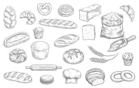 Bakery and pastry shop products sketch vector set. Wheat and rye bread, loaf, challah and baguette, croissant, pretzel and bagel, muffin, cupcake and cookie, rolling pin, toque and flour sack vector