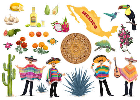 Mexico vector set with Mexican food, culture and travel symbols. Cactus, guitar, sombrero and tequila, Mexican men with poncho, maracas, map, aztec sun stone and agave, toucan and hummingbird Stock Illustratie