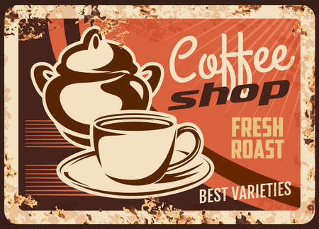 Coffee shop rusty vector metal plate, cup with sugar bowl, hot drink in mug on saucer. Promo retro poster with tasty arabic beverage. Vintage rust tin sign for coffee house or cafe, ferruginous card