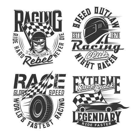 Car racing club, motorsport team t-shirt retro prints. Car or motorcycle race driver, racer modern and vintage helmet, goggles, checkered flag and tire engraved vector. Racetrack driver clothing print
