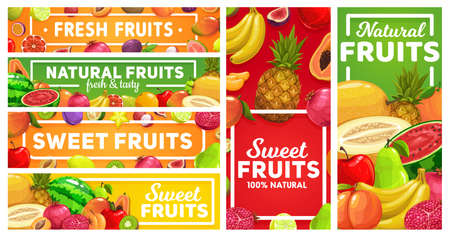 Natural tropical fruits market banners. Grapefruit, lemon and maracuya, lychee, fig and pomegranate, plum, orange and peach, papaya, guava and watermelon vector. Sweet exotic tropical fruits posters Ilustração