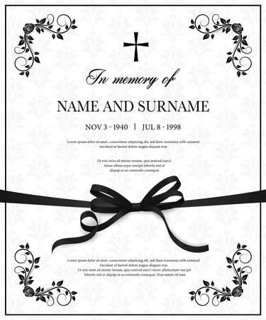 Funeral vector card with vintage condolence flower ornamental flourishes, christian cross, black mourning ribbon, name, birth and death dates place. Obituary memorial decorative funereal card template Vector Illustration
