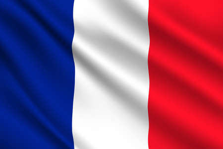 French flag, France country national vector identity. Foreign language learning, international business or travel symbol, realistic 3d waving European State flag, blue, white and red vertical stripes