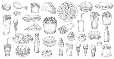 Sketch fast food isolated vector icons pizza, popcorn, nachos and taco with soda drink. Ice cream, donut and cupcake burritos and burger with hot dog and french fries junk meals, street fastfood set 矢量图像