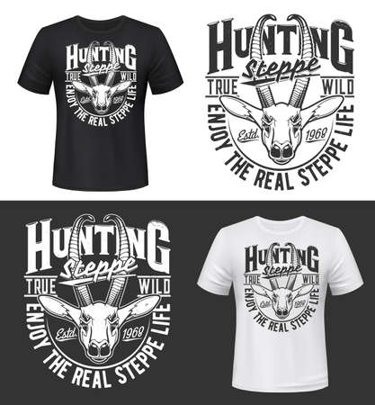 Steppe hunting t-shirt prints mockup with gazelle head. African savanna or steppe gazelle horned head vector. Big game trophy hunting apparel custom design prints with animal and retro typography
