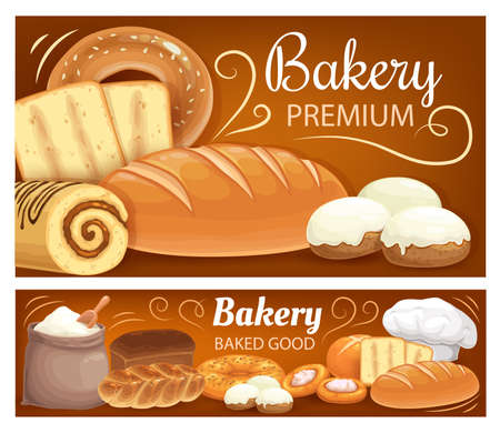 Bakery shop bread, baked cakes and desserts pastry, vector banners. Premium bakery shop bread and flour in bag, wheat and rye loaf, braided bun, croissant and chocolate roll, bagels and baguettes