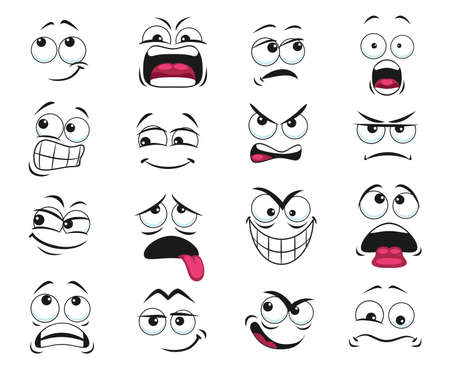Cartoon face expression isolated vector icons, funny emoji exhausted, yelling and scared, shocked, angry, gloat and sad. Facial feelings, emoticons upset and show tongue. Cute face expressions set Vetores